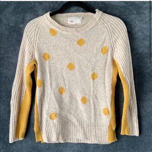 Anthropologie Yoon Sweater Yellow Polka Dots